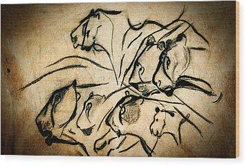 Chauvet Cave Lions Wood Print