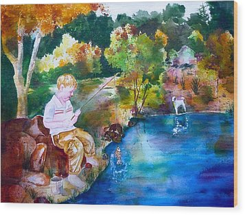 Wood Print featuring the painting Chayton's Lake In The Woods by Sharon Mick