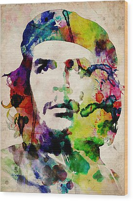 Che Guevara Urban Watercolor Wood Print by Michael Tompsett