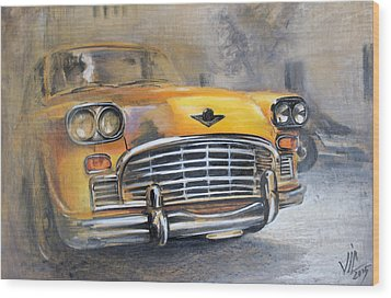 Checker Taxi Wood Print