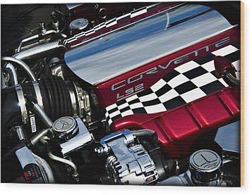 Checkered Flag Wood Print by Ricky Barnard