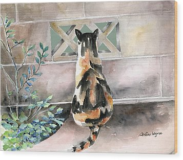 Checking Out The Neighbors Backyard Wood Print by Arline Wagner