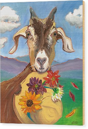 Wood Print featuring the painting Cheeky Goat by Susan Thomas
