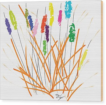 Cheerful Cattails Wood Print by Oiyee At Oystudio