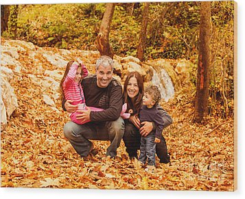 Cheerful Family In Autumn Woods Wood Print
