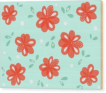 Cheerful Red Flowers Wood Print