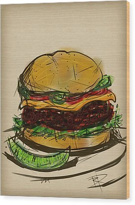 Cheese Burger Wood Print