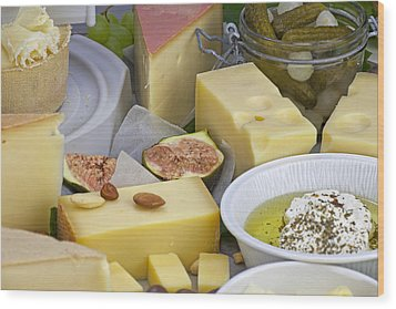Cheese Plate Wood Print by Joana Kruse
