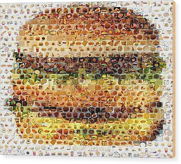 Wood Print featuring the mixed media Cheeseburger Fast Food Mosaic by Paul Van Scott