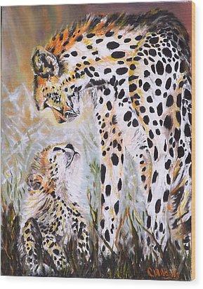 Cheetah And Pup Wood Print