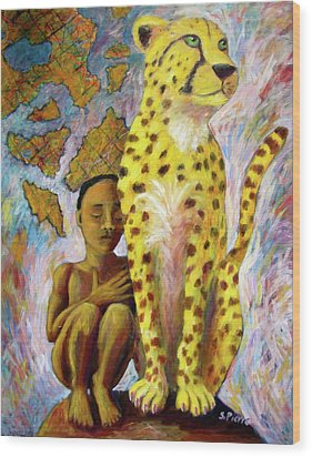 Cheetah Boy Wood Print