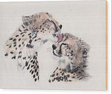 Cheetah Love Wood Print by Marqueta Graham