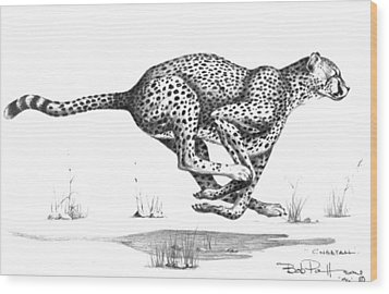 Cheetah On The Kill Wood Print by Bob Patterson