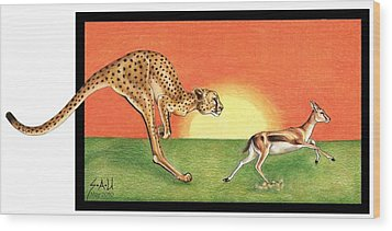 Cheetahroo On The Hunt Wood Print by Sheryl Unwin
