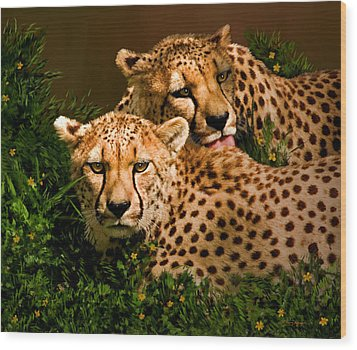 Cheetahs  Wood Print by Thanh Thuy Nguyen