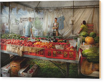 Chef - Vegetable - Jersey Fresh Farmers Market Wood Print by Mike Savad