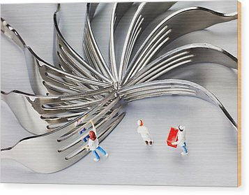 Wood Print featuring the photograph Chef And Forks Little People On Food  by Paul Ge