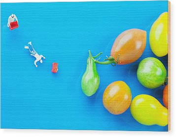 Wood Print featuring the painting Chef Tumbled In Front Of Colorful Tomatoes II Little People On Food by Paul Ge