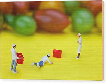 Wood Print featuring the painting Chef Tumbled In Front Of Colorful Tomatoes Little People On Food by Paul Ge