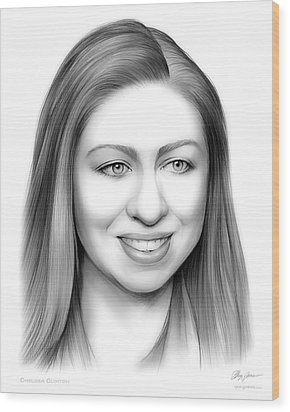 Chelsea Clinton Wood Print by Greg Joens