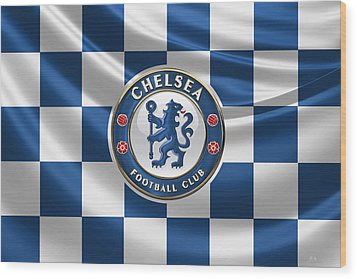 Chelsea F C - 3 D Badge Over Flag Wood Print