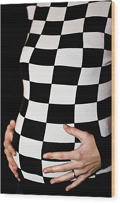 Chequered Pregnancy Wood Print