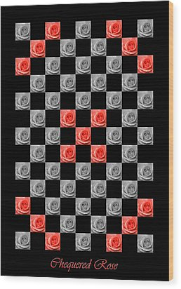 Chequered Rose Wood Print by Hazy Apple