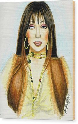 Cher Wood Print by Scarlett Royal