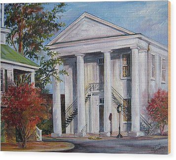 Wood Print featuring the painting Cheraw Town Hall In The Fall by Gloria Turner