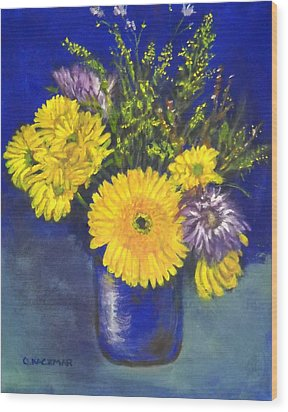 Cheris Flowers Wood Print by Olga Kaczmar