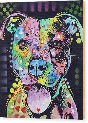 Cherish The Pitbull Wood Print by Dean Russo