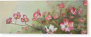 Wood Print featuring the painting Cherokee Dogwood - Brave- Blushing by Jan Dappen