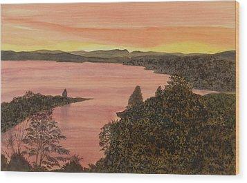 Wood Print featuring the painting Cherokee Lake - Golden Glow by Joel Deutsch