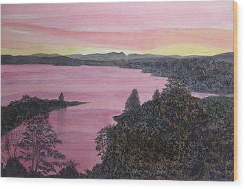 Wood Print featuring the painting Cherokee Lake Sunset by Joel Deutsch