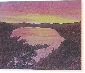 Wood Print featuring the painting Cherokee Lake Sunset Number Seven by Joel Deutsch