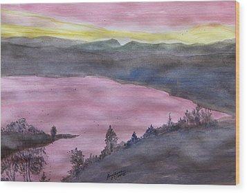 Wood Print featuring the painting Cherokee Lake - Watercolor Sketch  by Joel Deutsch