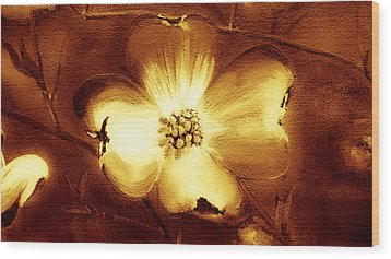 Cherokee Rose Dogwood - Single Glow Wood Print