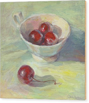 Cherries In A Cup On A Sunny Day Painting Wood Print by Svetlana Novikova