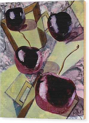 Cherries On Flat Homeware Wood Print by Evguenia Men