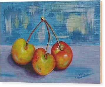 Cherries Trio Wood Print