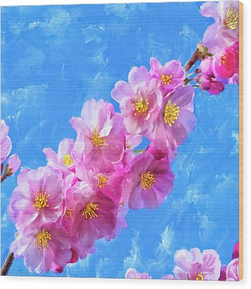 Wood Print featuring the painting Cherry Blossom Pink - Impressions Of Spring by Mark Tisdale