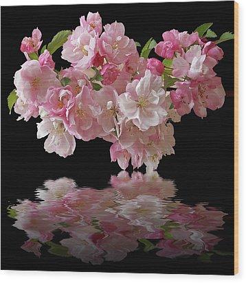 Cherry Blossom Reflections On Black Wood Print by Gill Billington
