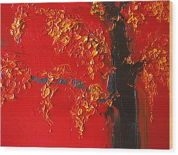 Cherry Blossom Tree - Red Yellow Wood Print