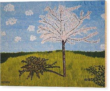 Cherry Blossom Tree Wood Print by Valerie Ornstein