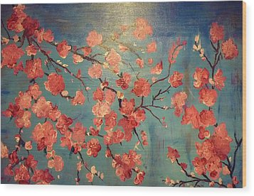 Cherry Blossoms Wood Print by Anza Arain