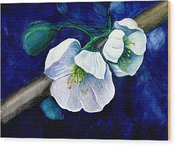 Cherry Blossoms Wood Print by Georgia Pistolis
