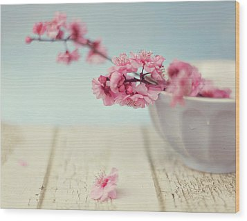 Cherry Blossoms In Bowl Wood Print by Hayley Johnson Photography
