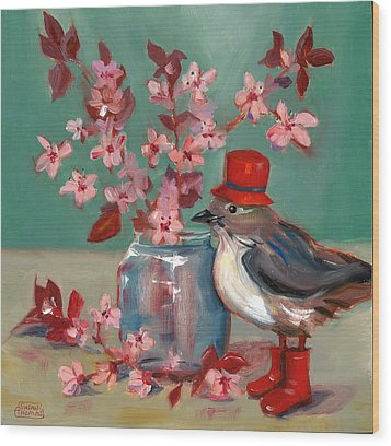 Wood Print featuring the painting Cherry Blossoms by Susan Thomas