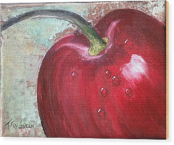 Sweet Cherry Wood Print by T Fry-Green