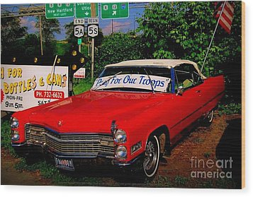 Cherry Red American Patriot 1966 Cadillac Coupe De Ville Wood Print by Peter Gumaer Ogden